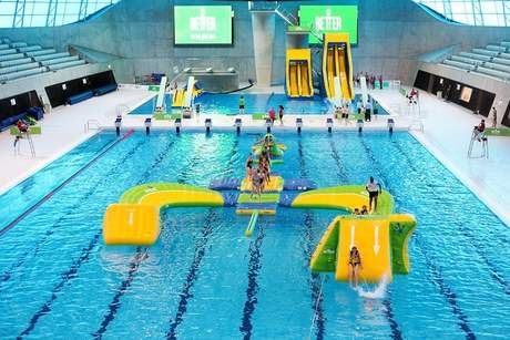the uks largest and most exciting indoor inflatable aquatic experience launches at the london aquatics centre lac queen elizabeth olympic park