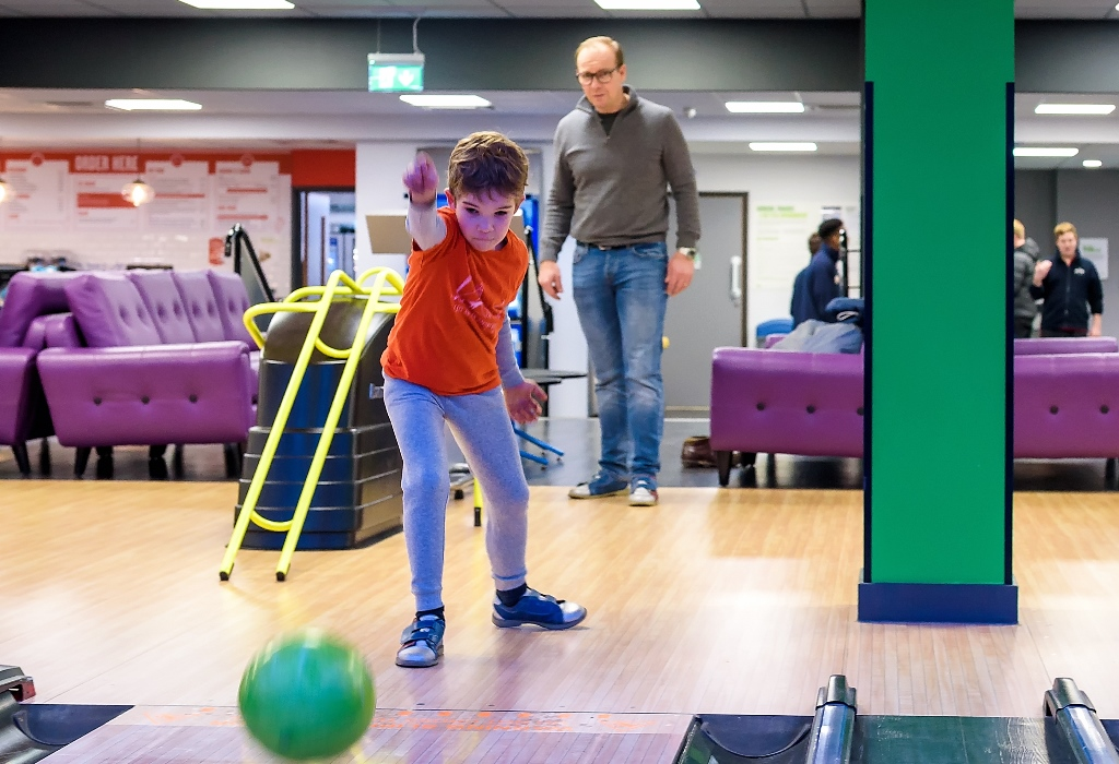 A bowling birthday party in full swing at Bath Sports and Leisure Centre