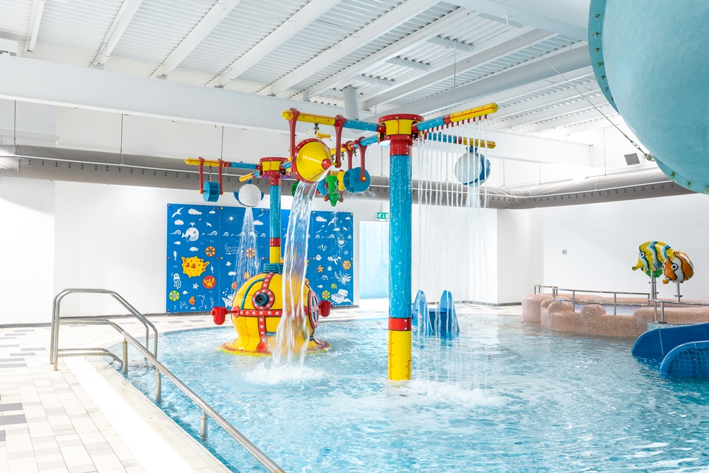 The leisure pool fun features and flume at Bath Sports and Leisure Centre